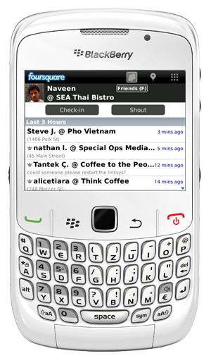 Foursquare con BlackBerry Messenger 6