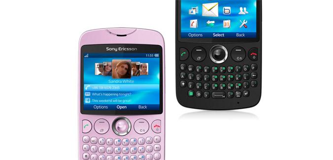 Sony Ericsson txt ya en México Rosa y Negro