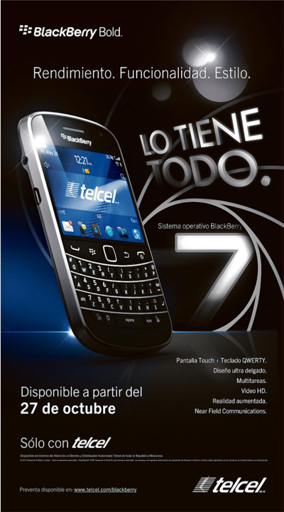 BlackBerry 9900 en Telcel
