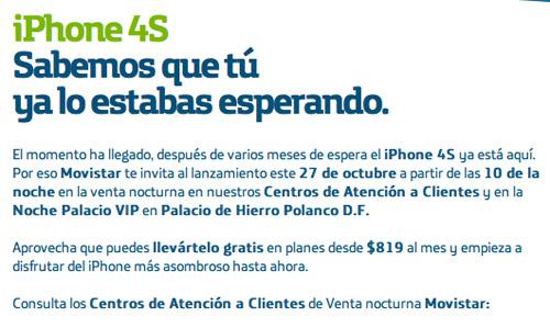 iPhone 4S venta nocturna Movistar