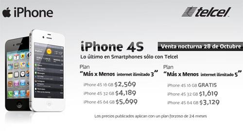 iPhone 4S venta nocturna Telcel