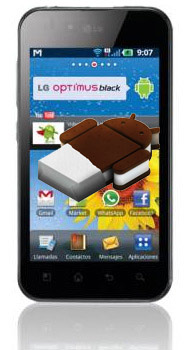 LG Optimus Black con Android ICe Cream Sandwich logo