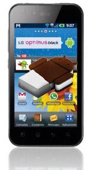 LG Optimus Black con Android ICe Cream Sandwich logo