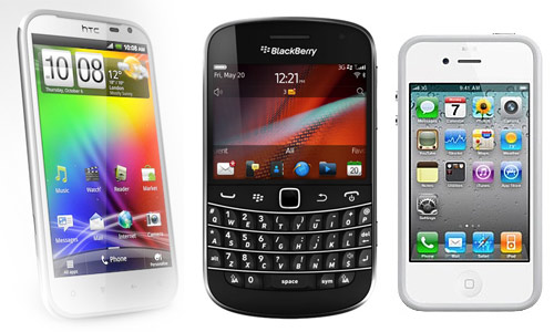 Smartphones, HTC, BlacBerry y iPhone