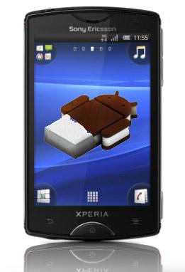 Xperia mini con imagen Android 4.0 Ice Cream Sandwich
