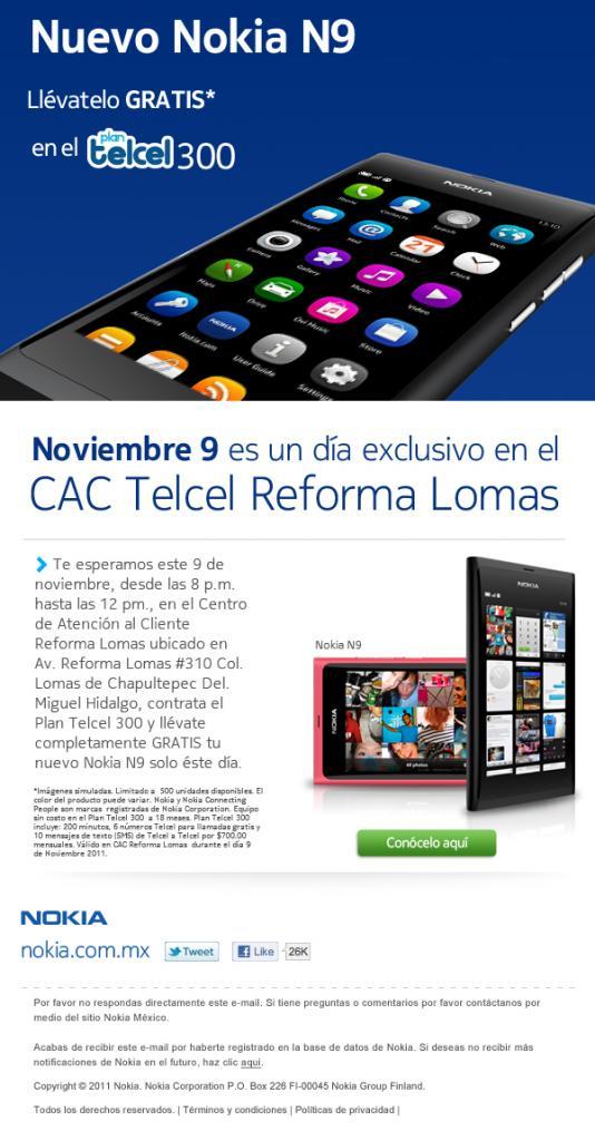 Nokia N9 en México, venta Telcel flyer