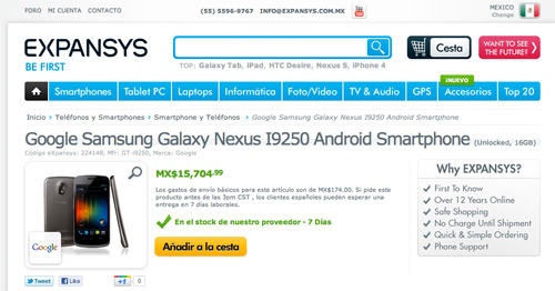 Samsung Galaxy Nexus disponible para México