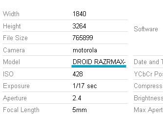 Motorola Dorid RAZRMAX EXIF