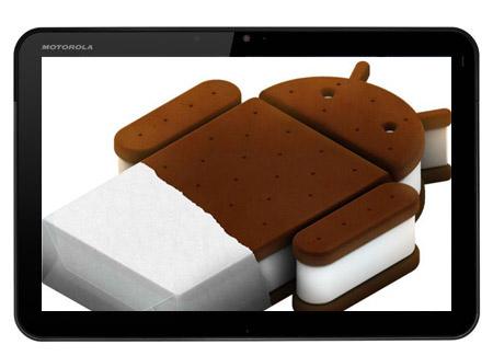 Motorora Xoom con Android logo Ice Cream Sandwich
