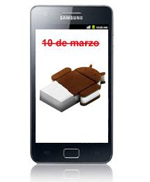 Galaxy S II actualización a Android Ice Cream Sandwich