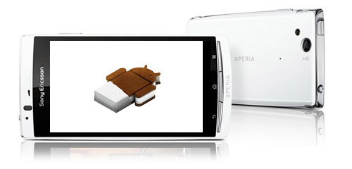 Sony Xperia Arc S con Logo Android Ice Cream Sandwich 4