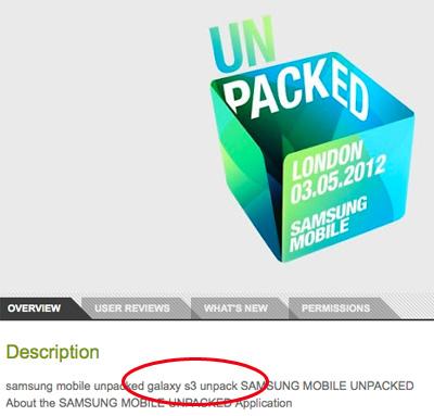 Samsung confirma nombre Galaxy S3 en su app