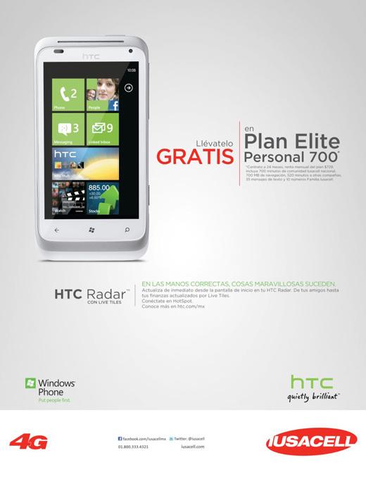 HTC Radar con Windows Phone Mango gratis en Iusacell