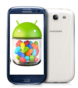 Samsung Galaxy S III con Android 4.1 Jelly Bean logo