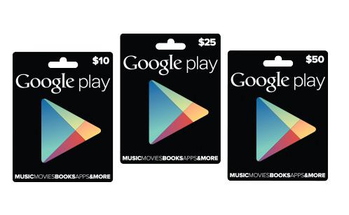 Google Play gift cards tarjetas de regalo