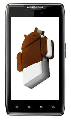 Motorola RAZR XT910 con Android Ice Cream Sandwich Logo