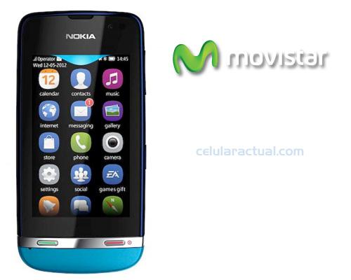 Nokia Asha 311 en México con Movistar logo