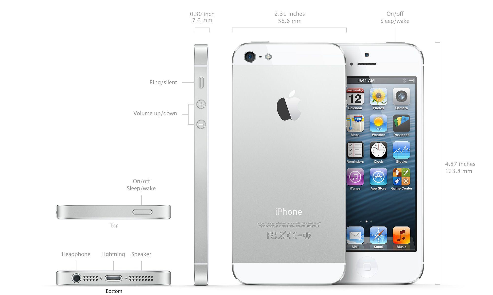 iPhone 5 de Apple partes físicas exterior