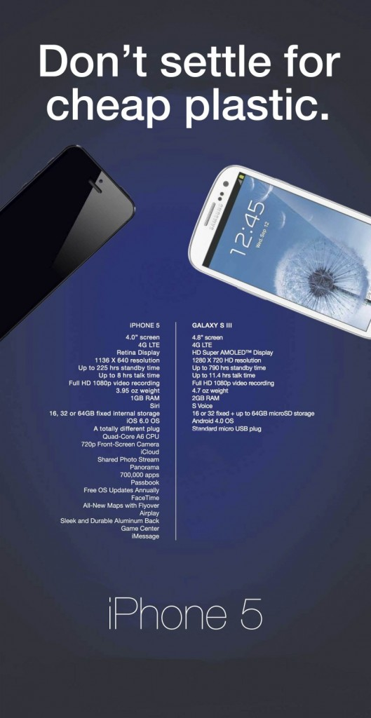 Cartel Apple Fans Samsung Galaxy S III vs iPhone 5