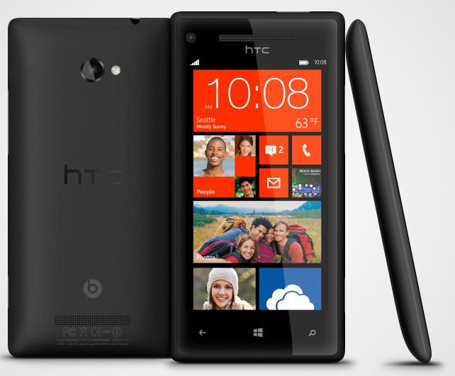 HTC 8X con Windows Phone 8 pantalla HD color negro