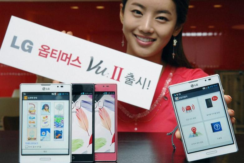 Modelo presentando el LG Optimus Vu II color blanco negro y rosa