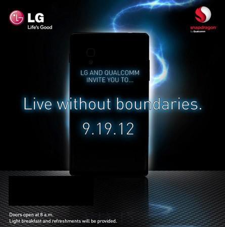 LG y Qualcomm invitación evento Optimus G 19 de septiembre