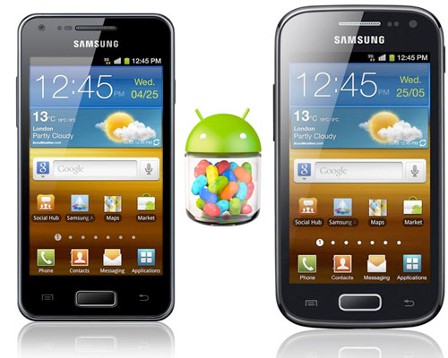 Samsung Galaxy Ace 2 y S Advance con Android Jelly Bean Logo