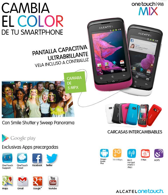 Alcatel One Touch 918 Mix en México carcasas intercambiables