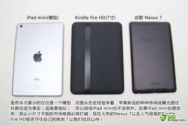 Comparación iPad mini con Nexus 7 y Kindle Fire HD 7