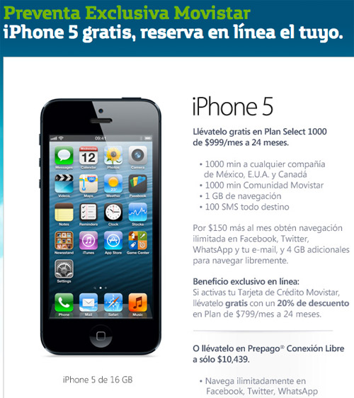 iPhone 5 ya en preventa en Movistar México ya tiene precio