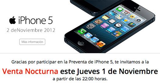 iPhone 5 venta nocturna  Iusacell 1 de noviembre