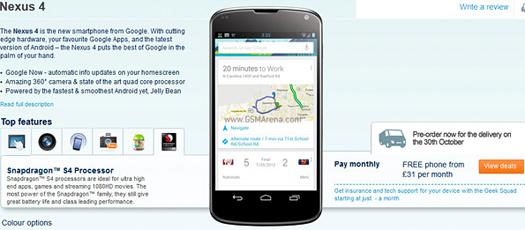 LG Nexus 4 en color blanco y negro preventa