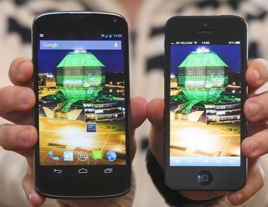 LG Nexus y iPhone 5 pantallas
