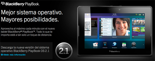 BlackBerry PlayBook OS 2.1 características