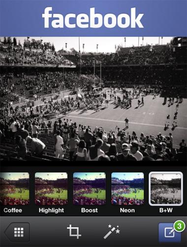 Facebook app para iOS ahora con Foto Filtros
