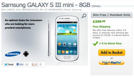 Samsung Galaxy S III mini comienza a venderse en el Reino Unido