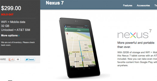 Nexus 7 Cellular se ha agotado en Google Play
