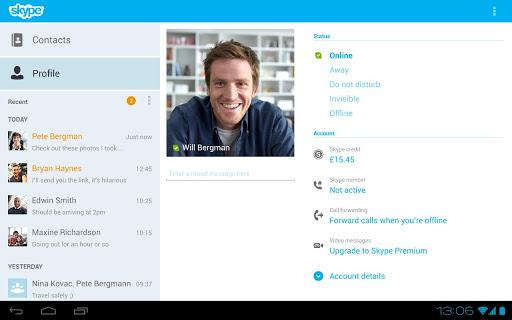 Skype 3.0 para Android en una Tablet nuevo diseño