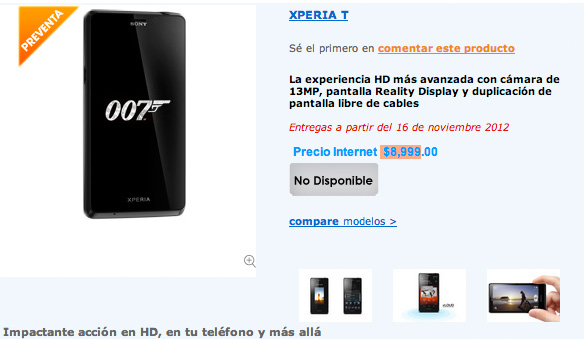 Sony Xperia T en México Preventa desbloqueado