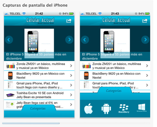 Celular Actual app para iPhone iOS