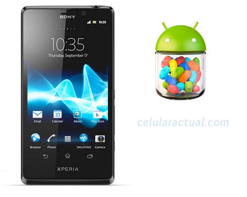 Sony Xperia T con Android Jelly Bean logo