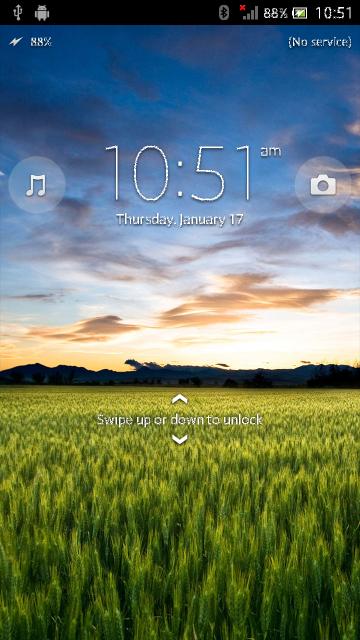 Pantallas Sony Xperia S con Android 4.1 Jelly Bean Pantalla de Bloqueo