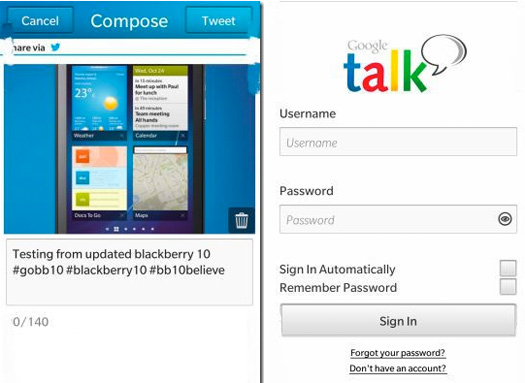 BlackBerry 10 Google Talk  y Twitter oficial app