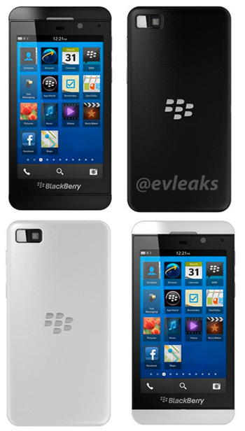 BlackBerry Z10 oficial en color blanco y negro para prensa