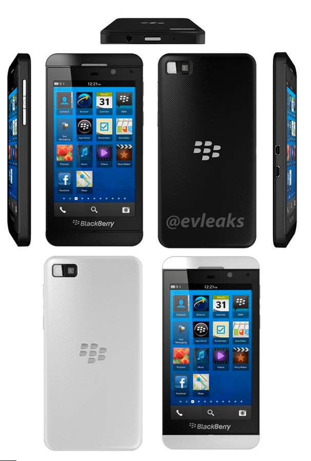 BlackBerry Z10 oficial en color blanco y negro para prensa