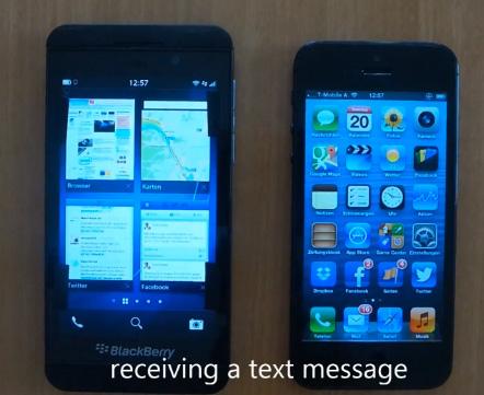 Video comparación del BlackBerry Z10 y el iPhone 5