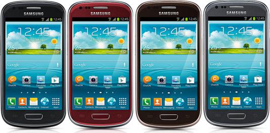 El Galaxy S III Mini colores Gris, Negro, Marrón, Rojo