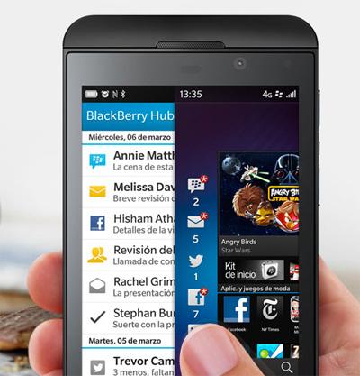 BlackBerry 10 Flow pantalla Z10