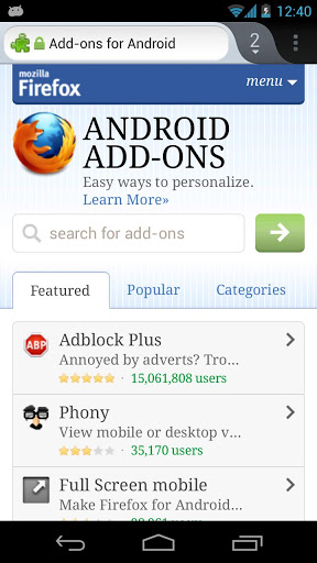 Firefox 19 para Android compatible con Temas themes add-ons