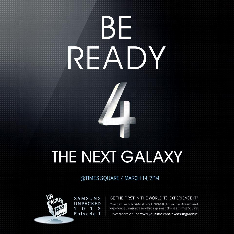Invitación para presentación del Galaxy S IV ha llegado